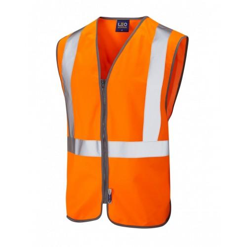 Leo Workwear Eggesford Class 2 GO/RT Orange Railway Waistcoat