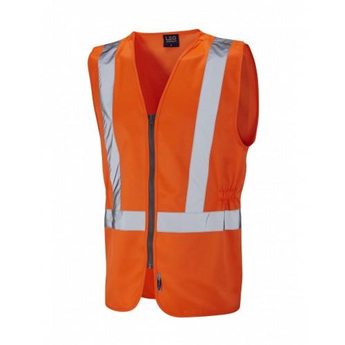 Leo Workwear Copplestone Class 2 GO/RT Orange Railway Waistcoat