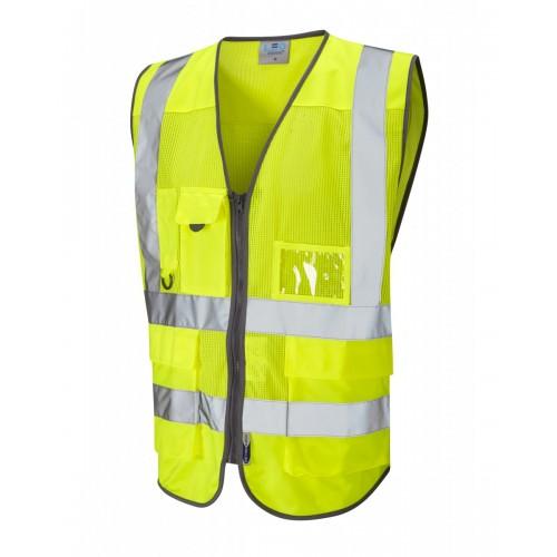Leo Workwear Cobbaton Class 2 Yellow Hi Vis CoolViz Waistcoat