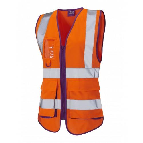 Leo Workwear Lynmouth Class 1 Orange Ladies Waistcoat