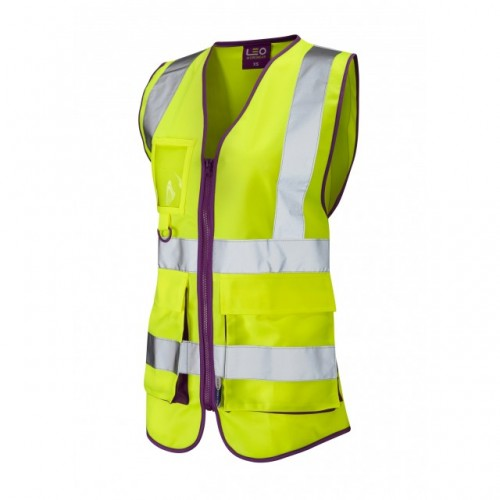 Leo Workwear Lynmouth Class 1 Yellow Ladies Waistcoat