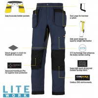 Snickers 6207 LiteWork Trousers Holster Pockets New Snickers LiteWork Trouser