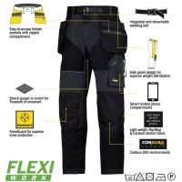 Snickers 6902 Flexiwork Ripstop Holster Trousers, New Snickers Flexiwork Ripstop Trouser
