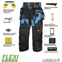Snickers 6905 Flexiwork Ripstop Pirate Trousers, New Snickers Flexiwork Ripstop Pirate Trouser