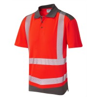 Leo Workwear Peppercombe Coolviz Plus Red/Grey Polo Shirt