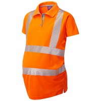 Leo Workwear Lovacott Coolviz Plus Orange Maternity Polo Shirt