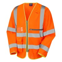 Leo Workwear Heddon Hi Vis Orange Sleeved Vest