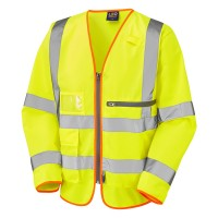 Leo Workwear Heddon Hi Vis Yellow Sleeved Vest