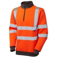 Leo Workwear Brynsworthy Orange Hi Vis 1/4 Zip Sweatshirt