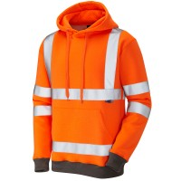 Leo Workwear Goodleigh Orange Hi Vis Hooded Sweatshirt