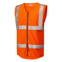 Leo Workwear Jacobstowe Orange Hi Vis Zip Waistcoat