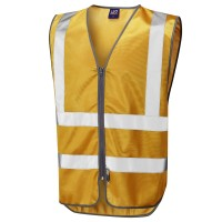 Leo Workwear Commodore Gold Reflective Waistcoat