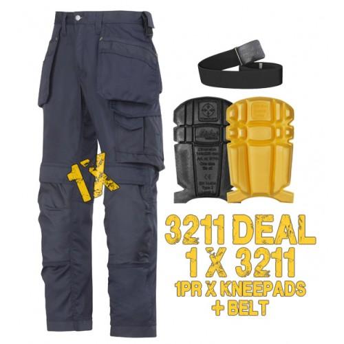 Snickers 3211 Kit Inc 9110 Kneepads & A PTD Belt