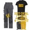 Snickers 3223 New Floor Layers Workwear Trousers x 1 Plus 9110 Knee Pads, Belt, T-Shirt