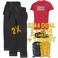 Snickers 3244 X 2 Kit Black XTR Craftsman Work Trousers