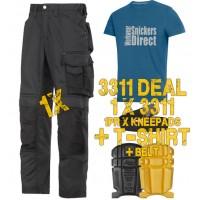 Snickers 3311 CoolTwill Trousers Kit 1 x 3311 1 x 9110 1x PTD Belt 1 x SnickersDirect T-Shirt