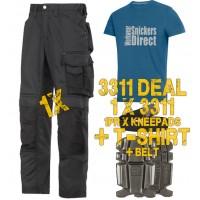Snickers 3311 CoolTwill Trousers Kit 1 x 3311 1 x 9111 1x PTD Belt 1 x SnickersDirect T-Shirt