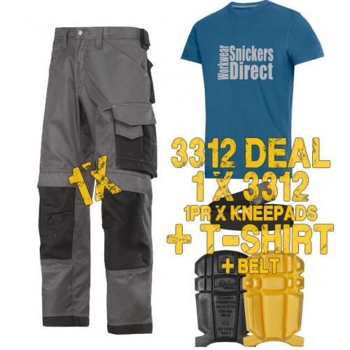 Snickers 3312 Work Trouser Deal 1B Inc T-Shirt