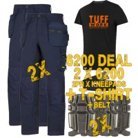 Snickers 2 x 6200 AllroundWork Trousers Plus SD T-Shirt & 2 x 9111 Knee Pads and PTD Belt