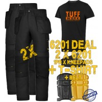 Snickers 2 x 6201 AllroundWork Trousers Plus SD T-Shirt & 1 x 9110 Knee Pads and PTD Belt