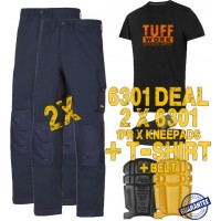 Snickers 2 x 6301 AllroundWork Trousers Plus SD T-Shirt & 1 x 9110 Knee Pads and PTD Belt