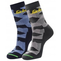 Snickers 9219 FlexiWork 2 Pack Camo Socks