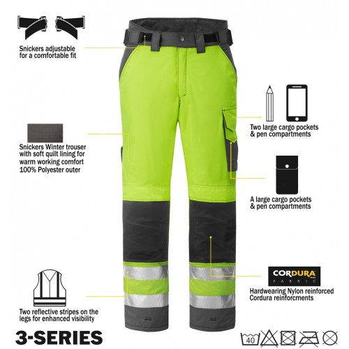 Snickers Workwear 3639 High-Vis Winter Trousers Class 2