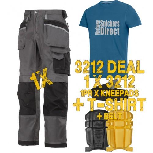 Snickers 3212 Work Trousers & SD T-Shirt, Kneepads & Belt