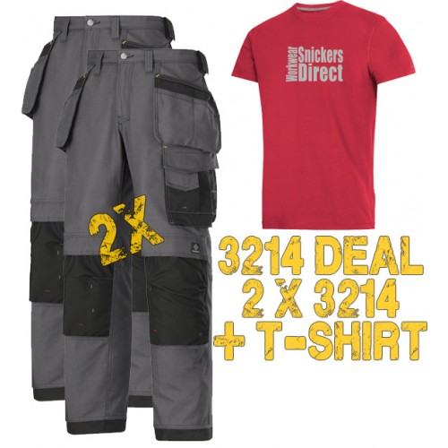 Snickers  2 x 3214 Trousers Plus SD T-Shirt