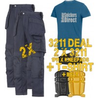 Snickers 2 x 3211 Kit Inc Snickers Direct TShirt, Kneepads & A PTD Belt