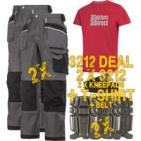 Snickers 2 x 3212 Trousers Plus SD T-Shirt & 2 x 9111 Knee Pads, A PTD Belt