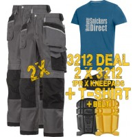 Snickers 2 x 3212 Trousers Plus SD T-Shirt & Knee Pads, A PTD Belt