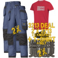 Snickers 2 x 3213 Kit Inc Snickers Direct TShirt, New Rip-Stop