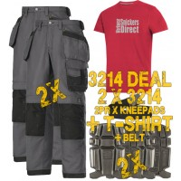 Snickers 2 x 3214 Trousers Plus SD T-Shirt & 2 x 9111 Knee Pads, A PTD Belt
