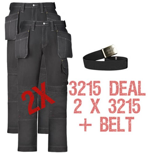 Snickers 2 x Workwear Trousers 3215 Kit Including PTD Belt