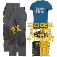 Snickers 3223 New Floor Layers Workwear Trousers x 2 Plus 9110 Knee Pads