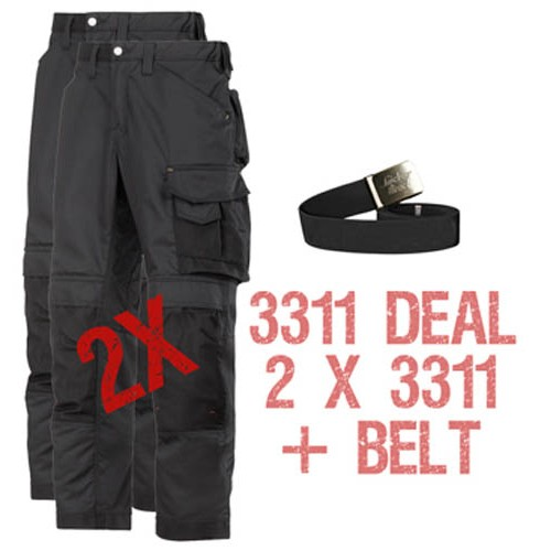 Snickers 2 x 3311 Kit Inc A PTB Belt, Snickers Trousers