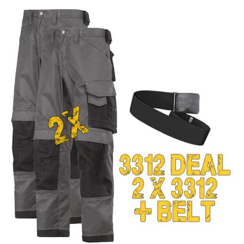 Snickers 3312 x 2  3-Series Trousers, 3312 x 2 Plus A Belt