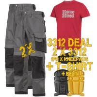 Snickers 2 x 3312 Trousers Plus SD T-Shirt & Knee Pads, A PTD Belt