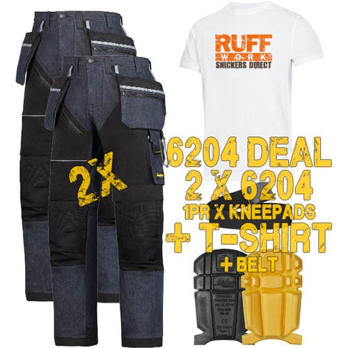 Snickers 6204 Kit1 Ruffwork Denim Trousers, New Snickers Ruffwork Denim Trouser Kit1