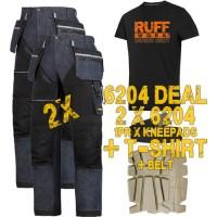Snickers 6204 Kit2 Ruffwork Denim Trousers, New Snickers Ruffwork Denim Trouser Kit2