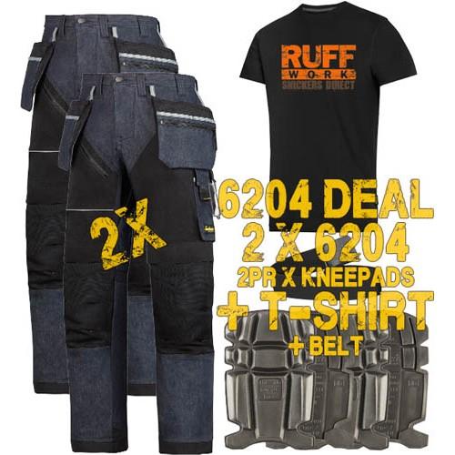 Snickers 6204 Kit3 Ruffwork Denim Trousers, New Snickers Ruffwork Denim Trouser Kit3