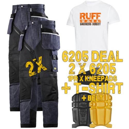 Snickers 6205 Kit1 Ruffwork Denim Trousers, New Snickers Ruffwork Denim Trouser Kit1