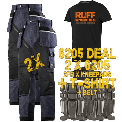 Snickers 6205 Kit3 Ruffwork Denim Trousers, New Snickers Ruffwork Denim Trouser Kit3