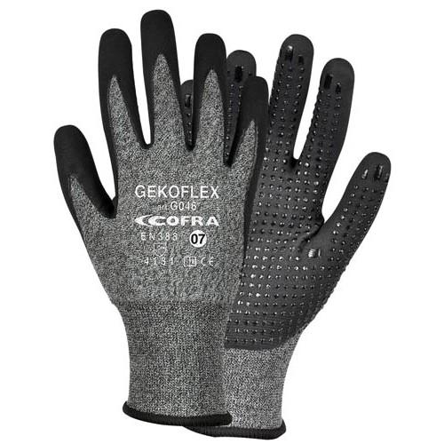 Cofra Gekoflex Grey - Black Nitrile Gloves Water Repellent Back 12pk