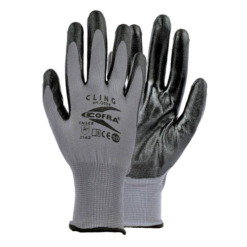 Cofra Cling Grey - Black Nitrile Gloves for Mechanical Protection 12pk