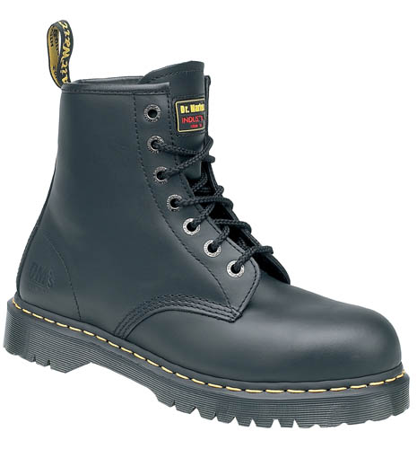 e25aa1e1878 Details about Dr Martens 6601 Icon Black Leather Ankle Safety Boots with  Steel Toe Caps 101ST